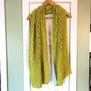 Soft Chunky Open Weave Lime Green Knit Scarf